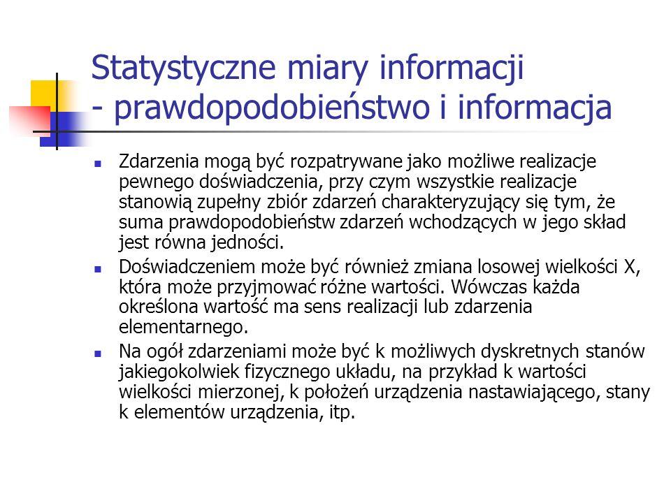 Statystyczne miary informacji - prawdopodobieństwo i informacja