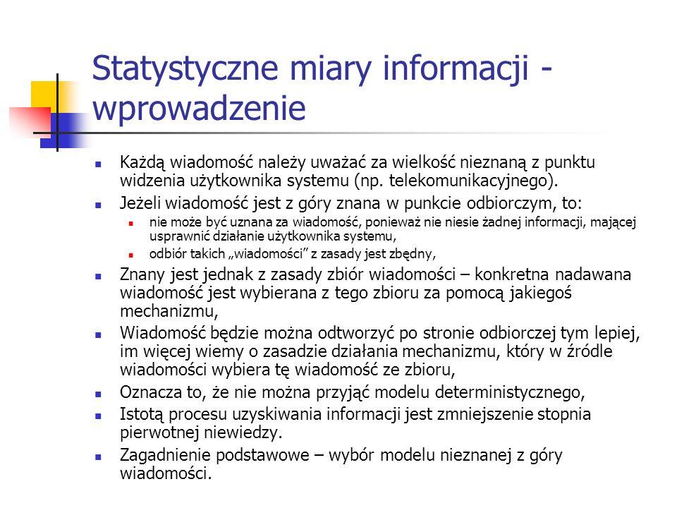 Statystyczne miary informacji - wprowadzenie