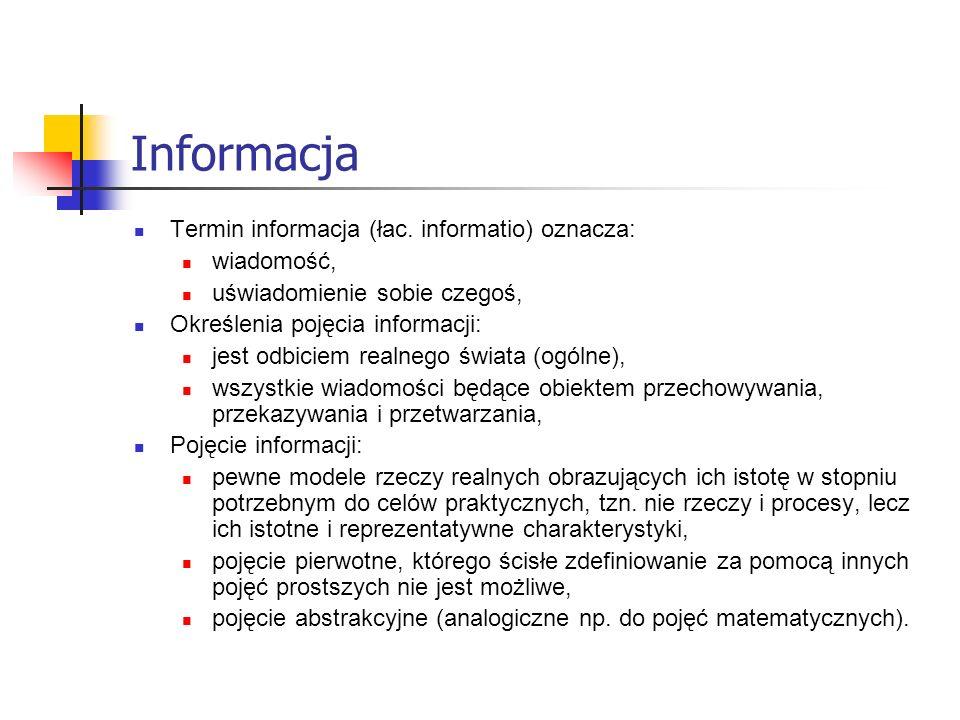 Informacja Termin informacja (łac. informatio) oznacza: wiadomość,