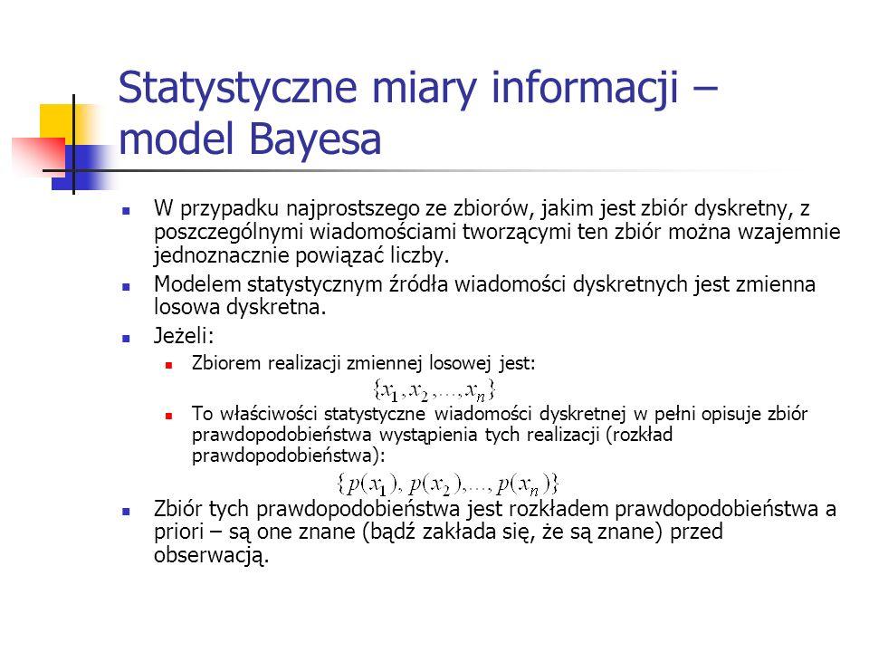 Statystyczne miary informacji – model Bayesa