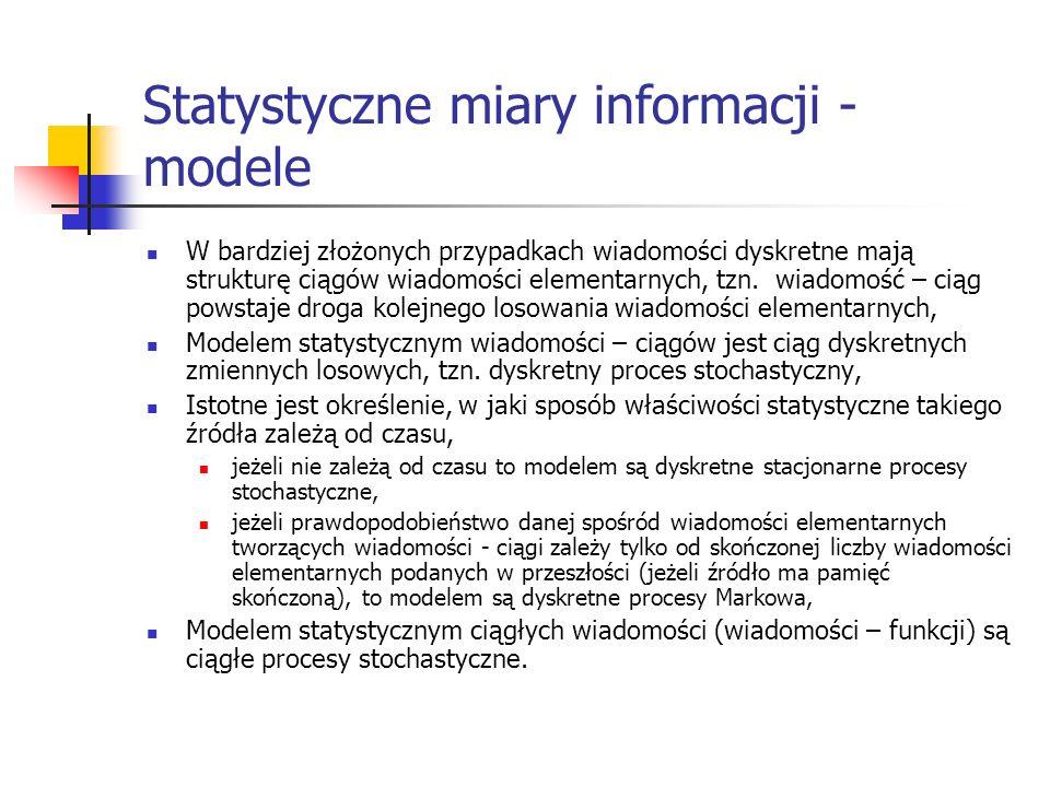 Statystyczne miary informacji - modele