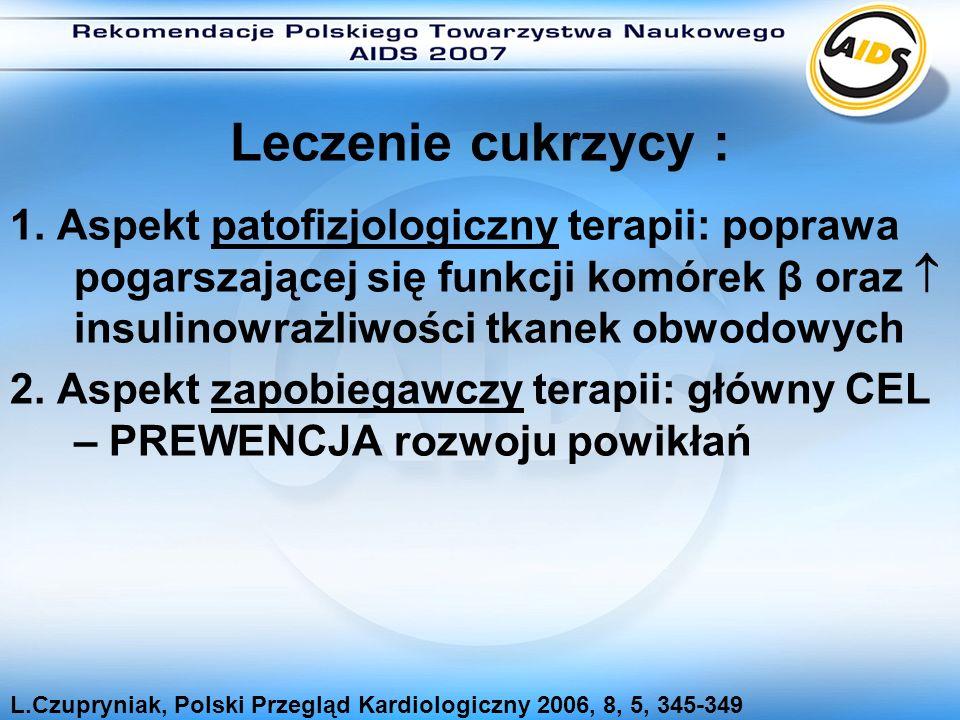 Leczenie cukrzycy : 1. Aspekt patofizjologiczny terapii: poprawa pogarszającej się funkcji komórek β oraz  insulinowrażliwości tkanek obwodowych.