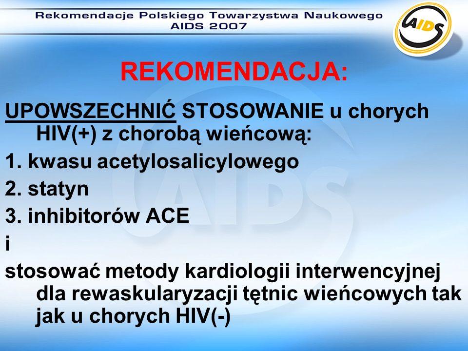 REKOMENDACJA: UPOWSZECHNIĆ STOSOWANIE u chorych HIV(+) z chorobą wieńcową: 1. kwasu acetylosalicylowego.