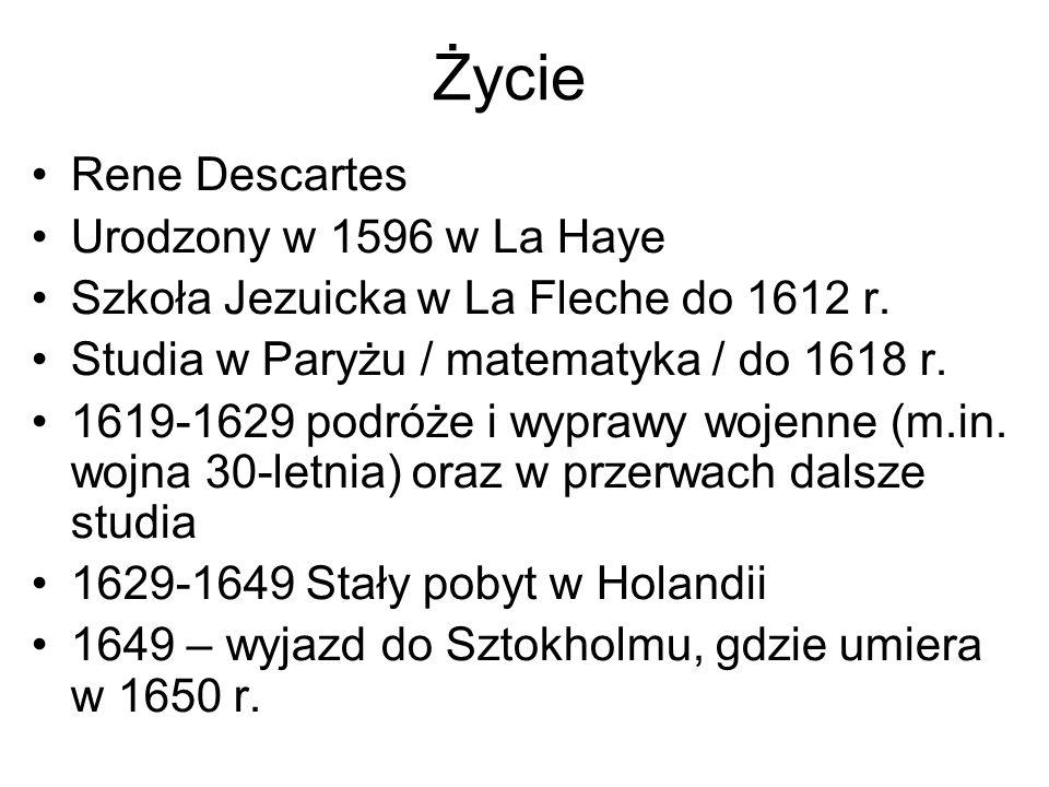 Życie Rene Descartes Urodzony w 1596 w La Haye
