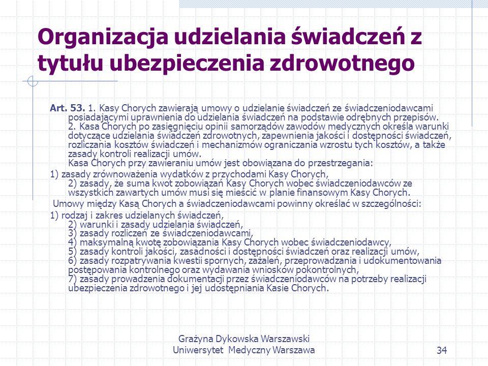 Organizacja udzielania świadczeń z tytułu ubezpieczenia zdrowotnego