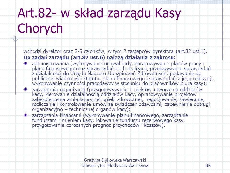 Art.82- w skład zarządu Kasy Chorych