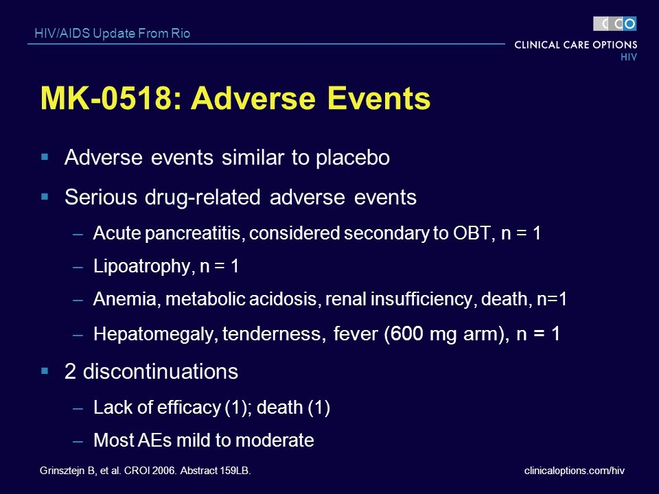 MK-0518: Adverse Events Adverse events similar to placebo