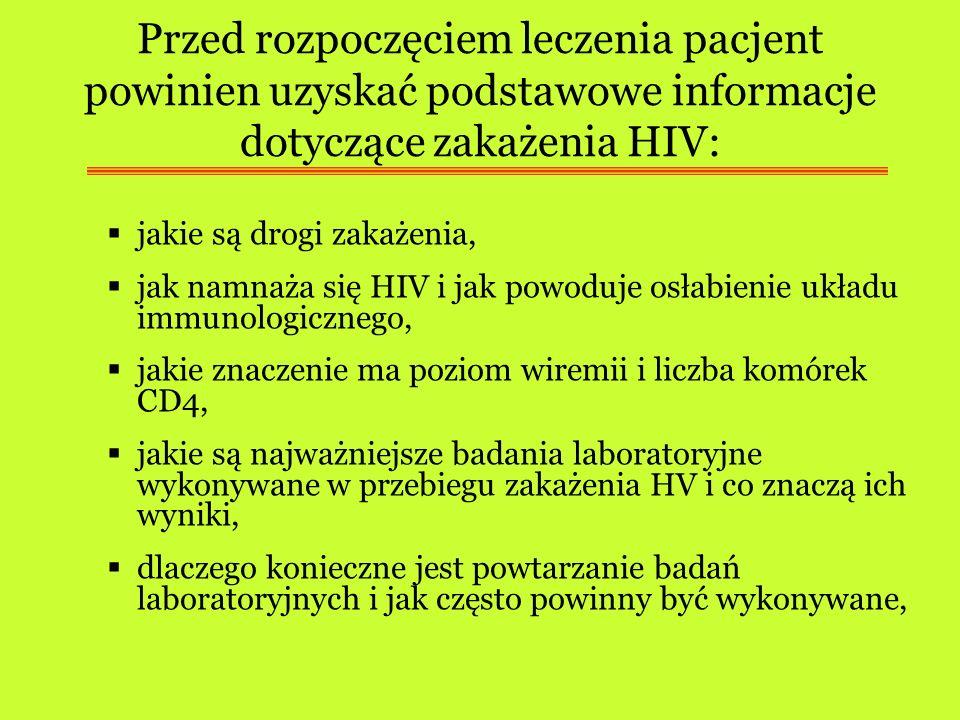 Przed rozpoczęciem leczenia pacjent powinien uzyskać podstawowe informacje dotyczące zakażenia HIV: