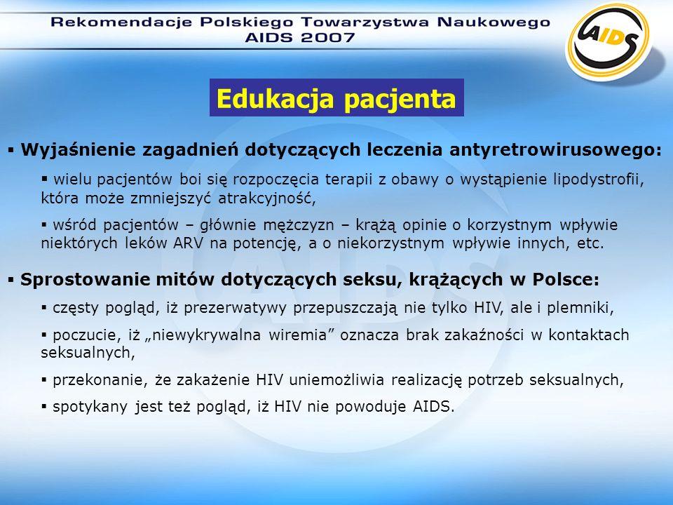 Edukacja pacjentaWyjaśnienie zagadnień dotyczących leczenia antyretrowirusowego: