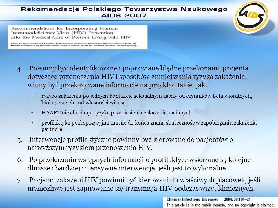 Powinny być identyfikowane i poprawiane błędne przekonania pacjenta dotyczące przenoszenia HIV i sposobów zmniejszania ryzyka zakażenia, winny być przekazywane informacje na przykład takie, jak: