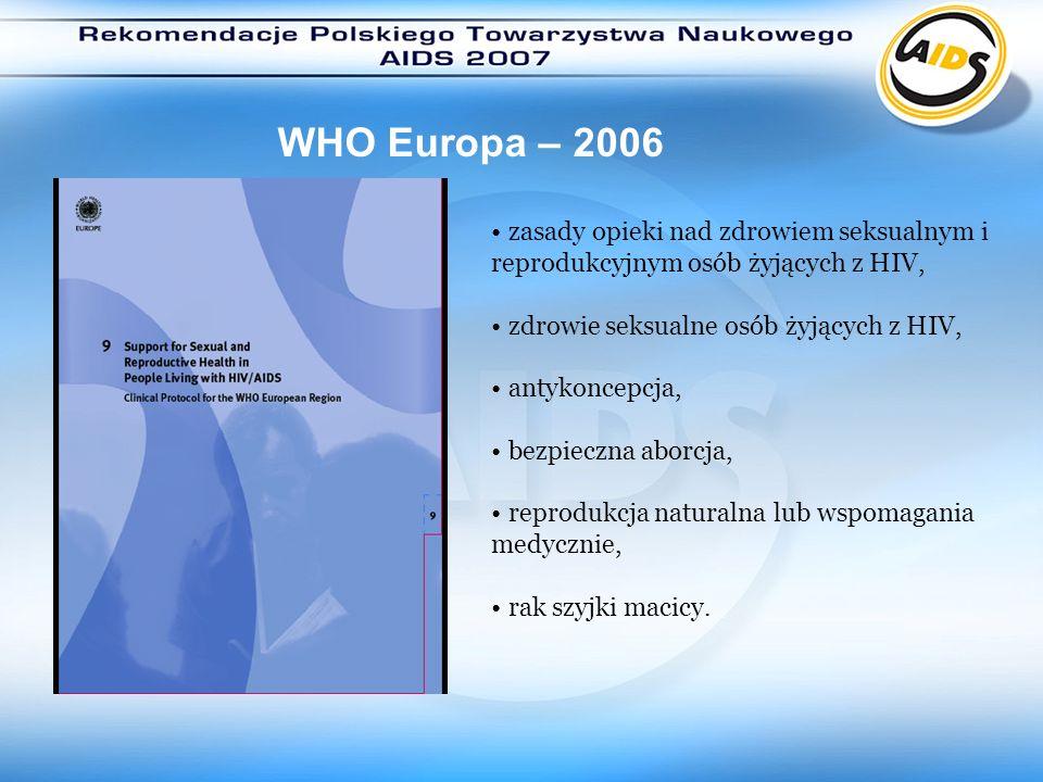 WHO Europa – 2006zasady opieki nad zdrowiem seksualnym i reprodukcyjnym osób żyjących z HIV, zdrowie seksualne osób żyjących z HIV,
