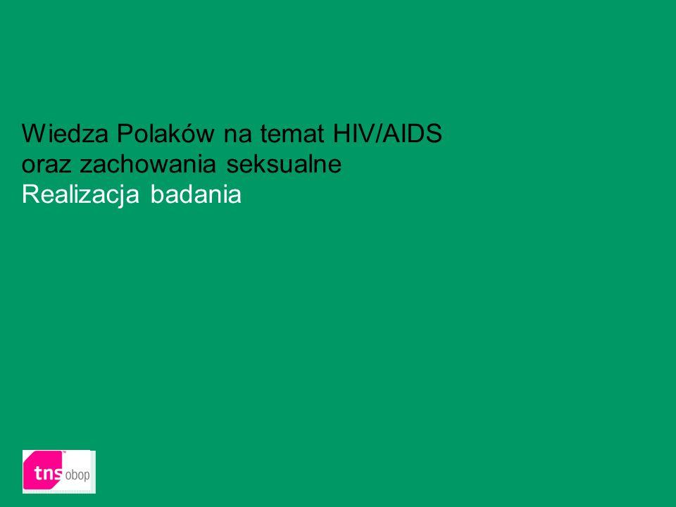 Wiedza Polaków na temat HIV/AIDS oraz zachowania seksualne Realizacja badania