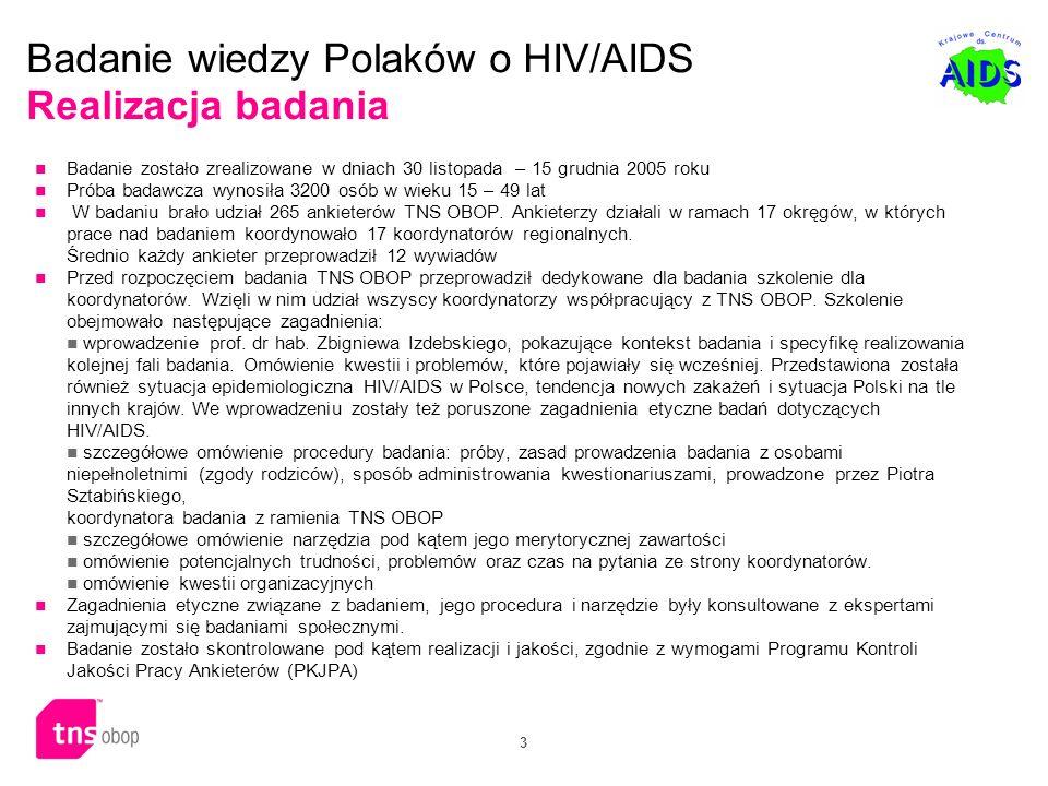 Badanie wiedzy Polaków o HIV/AIDS Realizacja badania