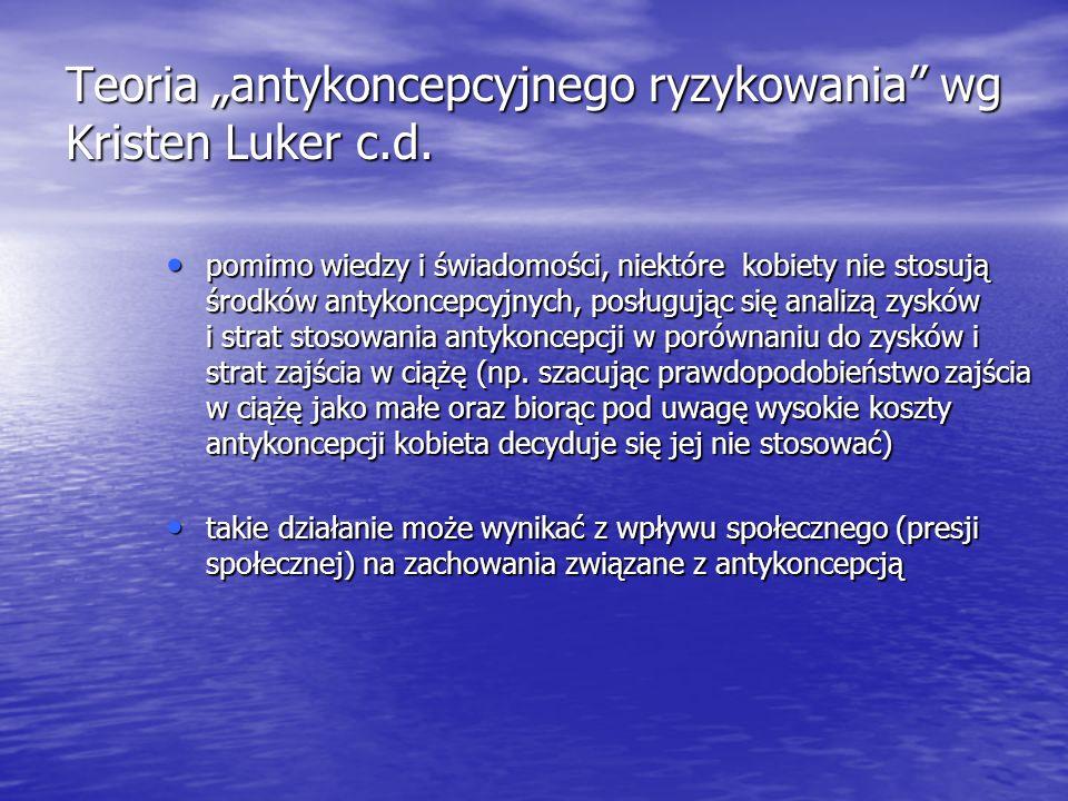 """Teoria """"antykoncepcyjnego ryzykowania wg Kristen Luker c.d."""