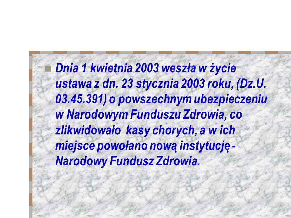 Dnia 1 kwietnia 2003 weszła w życie ustawa z dn