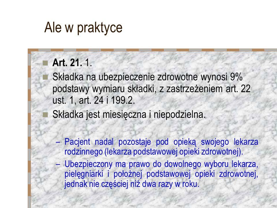 Ale w praktyce Art. 21. 1. Składka na ubezpieczenie zdrowotne wynosi 9% podstawy wymiaru składki, z zastrzeżeniem art. 22 ust. 1, art. 24 i 199.2.