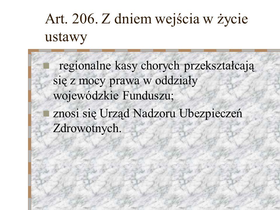 Art. 206. Z dniem wejścia w życie ustawy