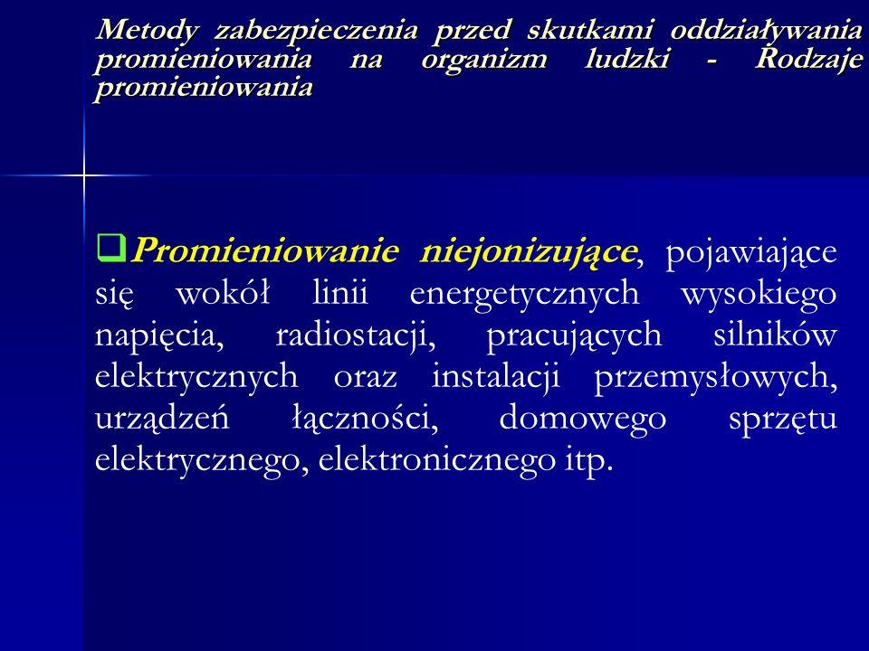 Metody zabezpieczenia przed skutkami oddziaływania promieniowania na organizm ludzki - Rodzaje promieniowania