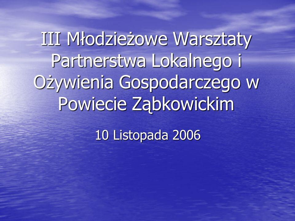 III Młodzieżowe Warsztaty Partnerstwa Lokalnego i Ożywienia Gospodarczego w Powiecie Ząbkowickim
