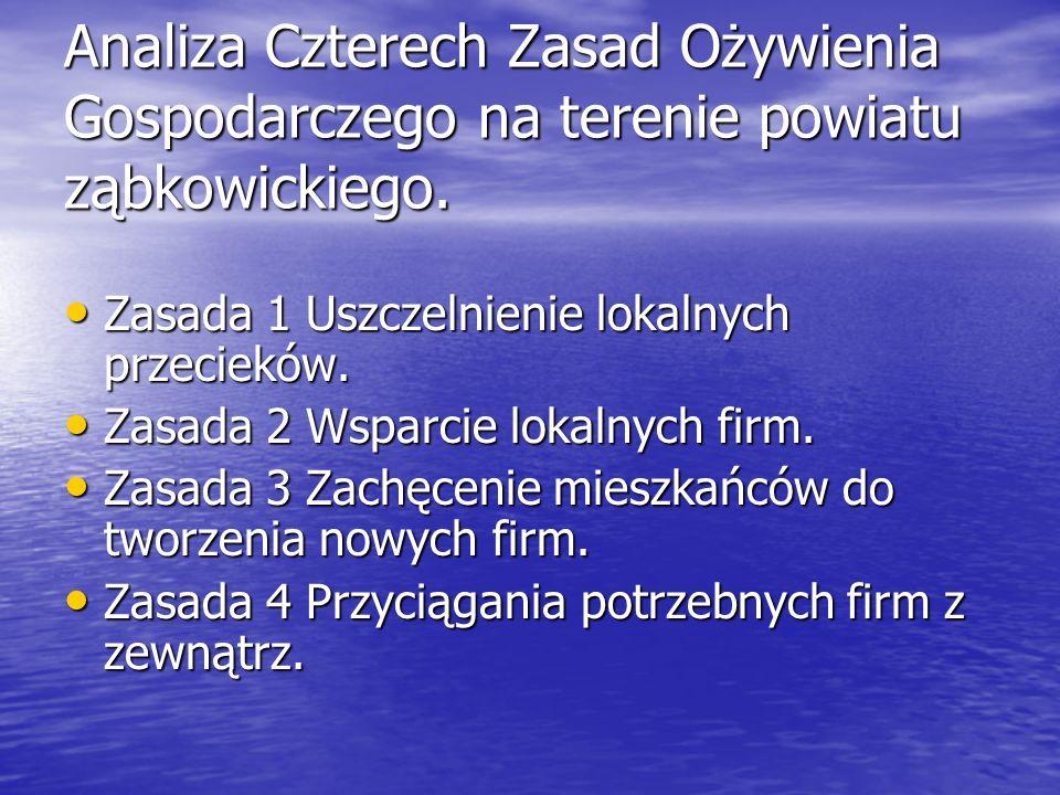 Analiza Czterech Zasad Ożywienia Gospodarczego na terenie powiatu ząbkowickiego.
