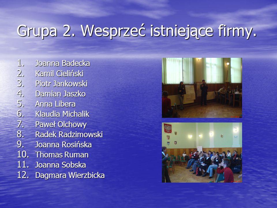 Grupa 2. Wesprzeć istniejące firmy.