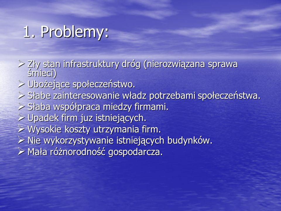 1. Problemy: Zły stan infrastruktury dróg (nierozwiązana sprawa śmieci) Ubożejące społeczeństwo.