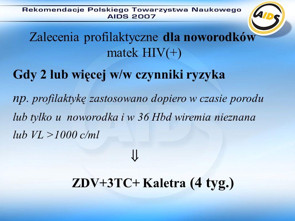 Zalecenia profilaktyczne dla noworodków matek HIV(+)
