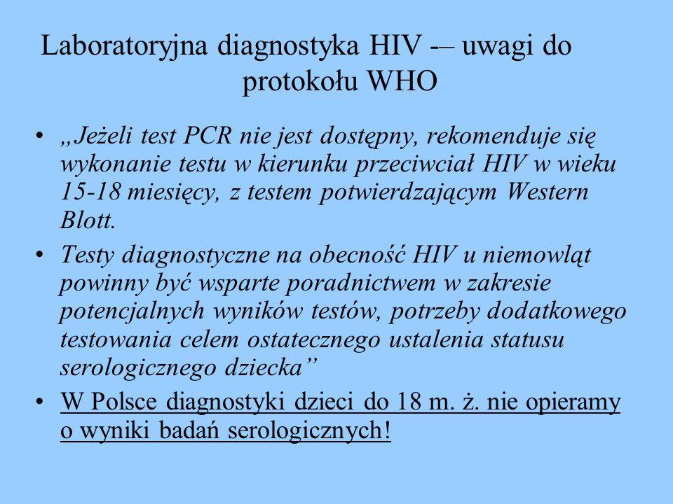 Laboratoryjna diagnostyka HIV -– uwagi do protokołu WHO