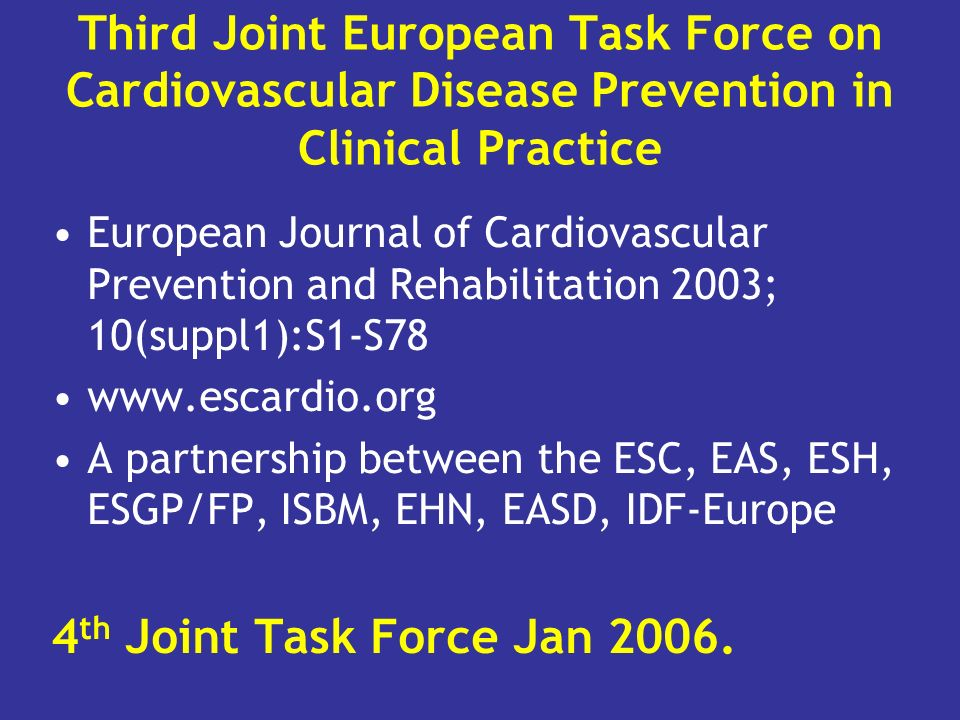 Third Joint European Task Force on Cardiovascular Disease Prevention in Clinical Practice