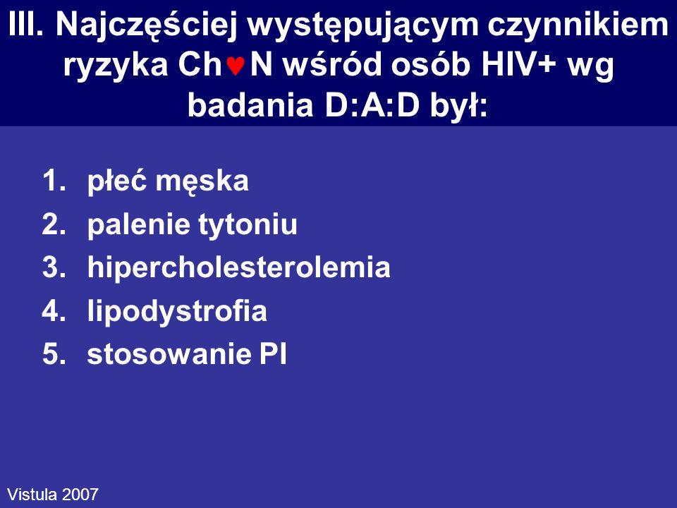 III. Najczęściej występującym czynnikiem ryzyka ChN wśród osób HIV+ wg badania D:A:D był: