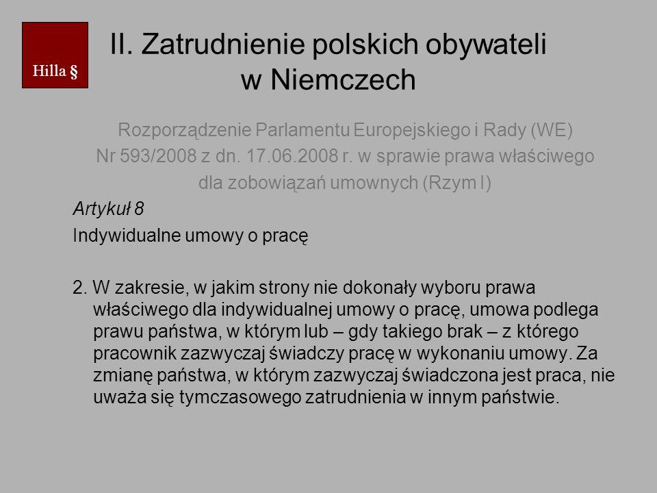 II. Zatrudnienie polskich obywateli w Niemczech