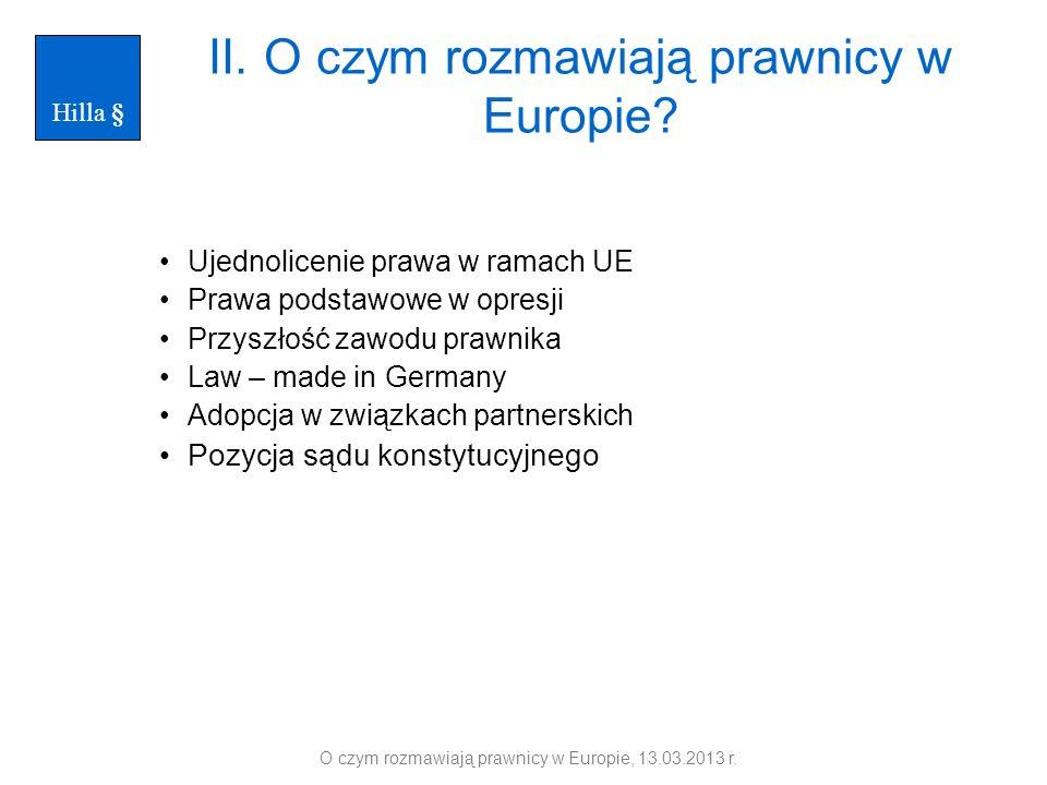 II. O czym rozmawiają prawnicy w Europie