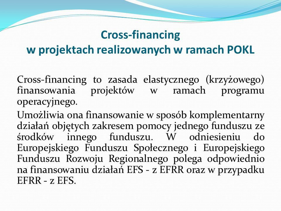 Cross-financing w projektach realizowanych w ramach POKL