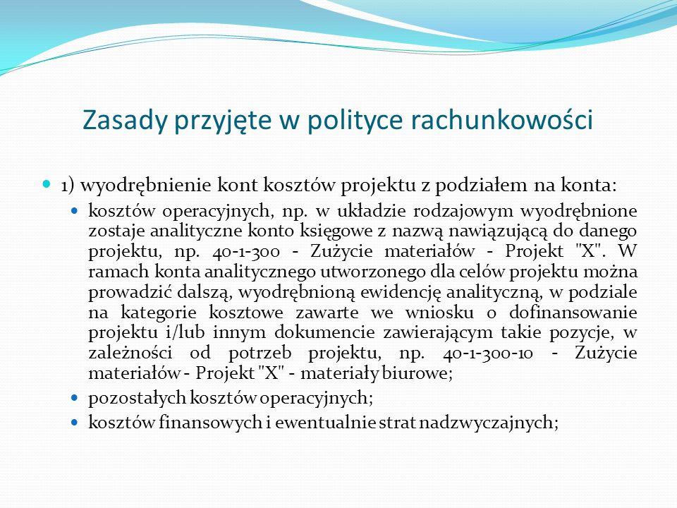 Zasady przyjęte w polityce rachunkowości