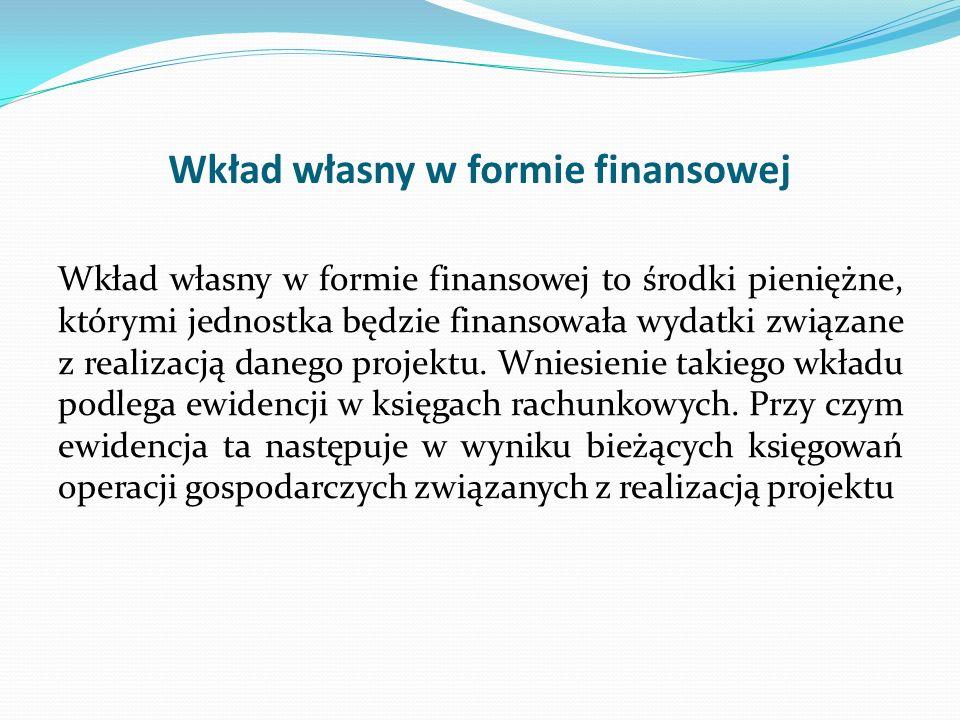 Wkład własny w formie finansowej