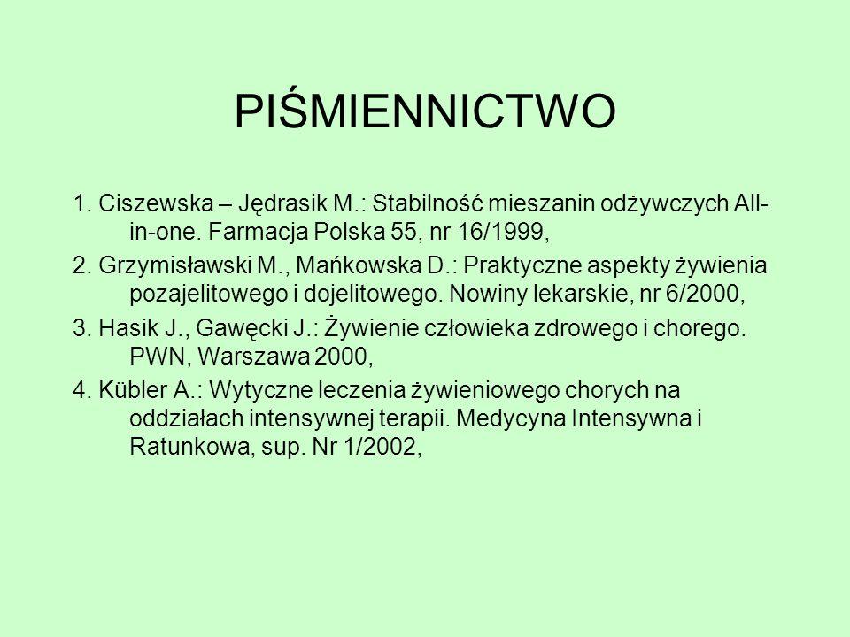 PIŚMIENNICTWO 1. Ciszewska – Jędrasik M.: Stabilność mieszanin odżywczych All-in-one. Farmacja Polska 55, nr 16/1999,