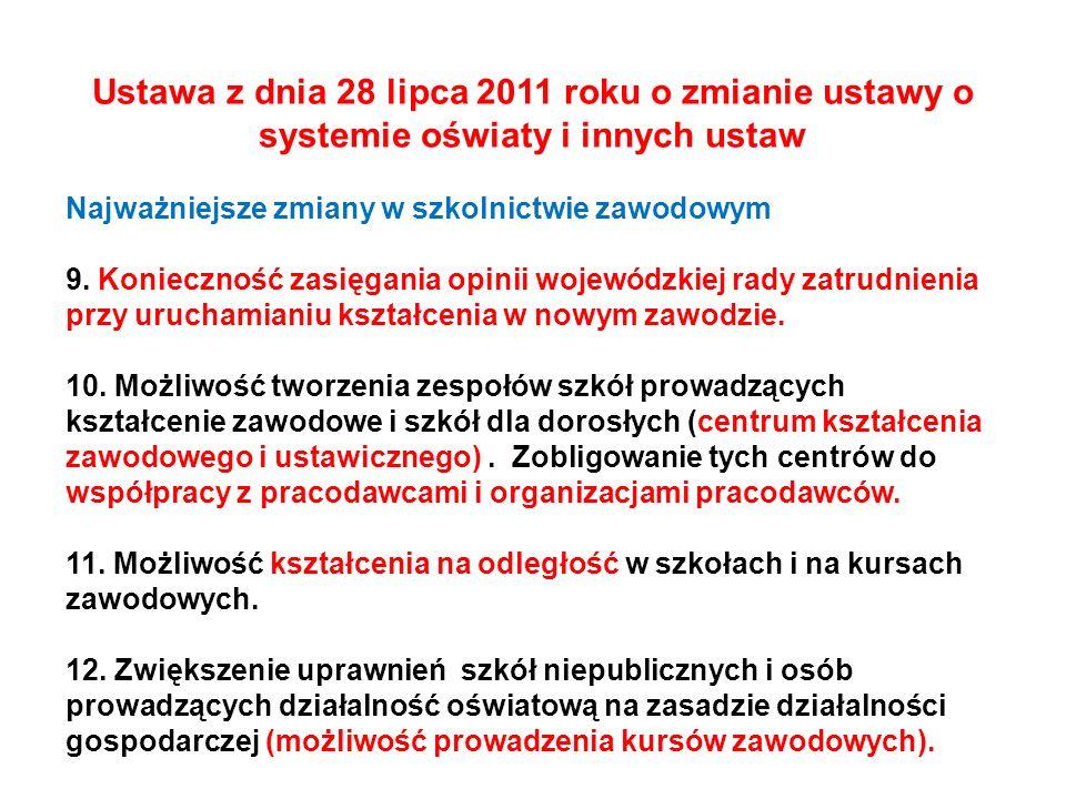 Ustawa z dnia 28 lipca 2011 roku o zmianie ustawy o systemie oświaty i innych ustaw