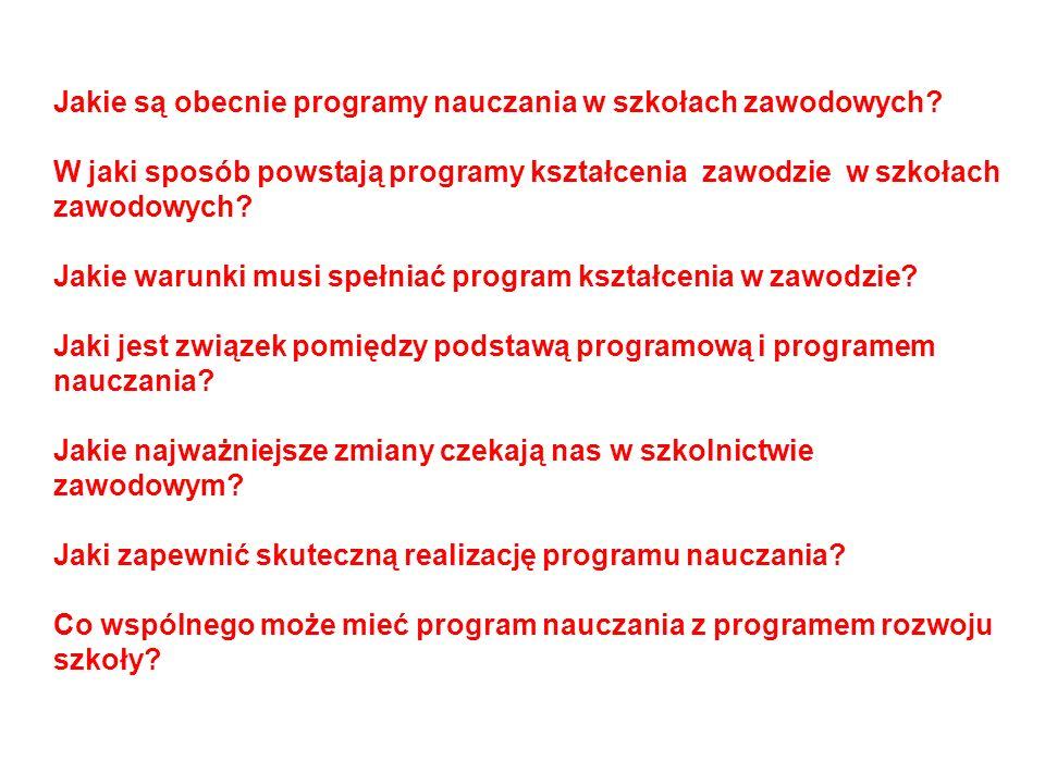 Jakie są obecnie programy nauczania w szkołach zawodowych
