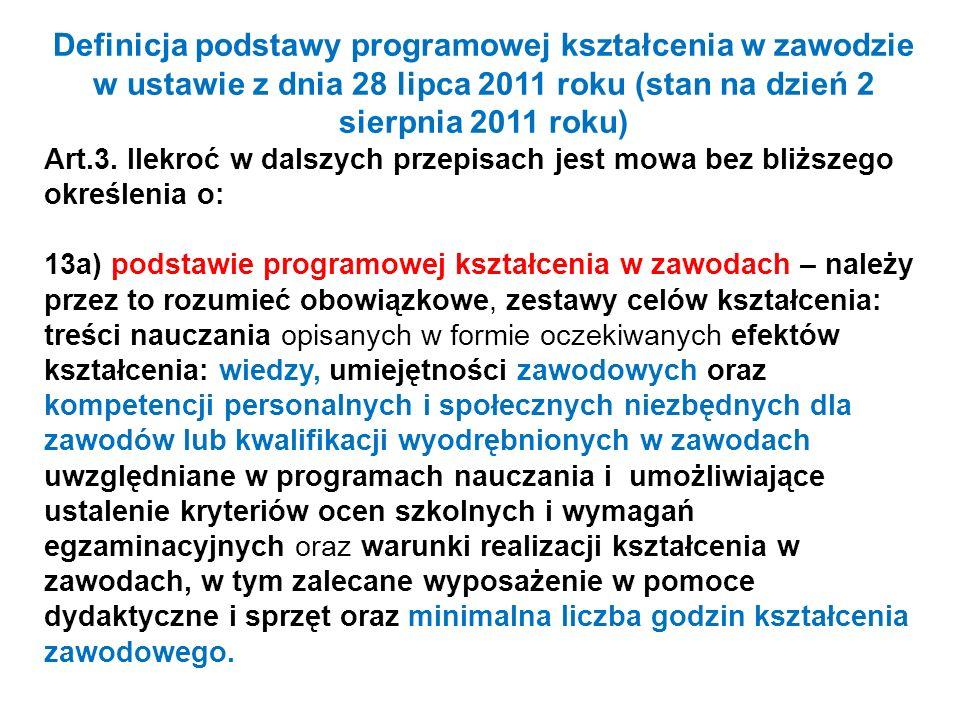Definicja podstawy programowej kształcenia w zawodzie w ustawie z dnia 28 lipca 2011 roku (stan na dzień 2 sierpnia 2011 roku)