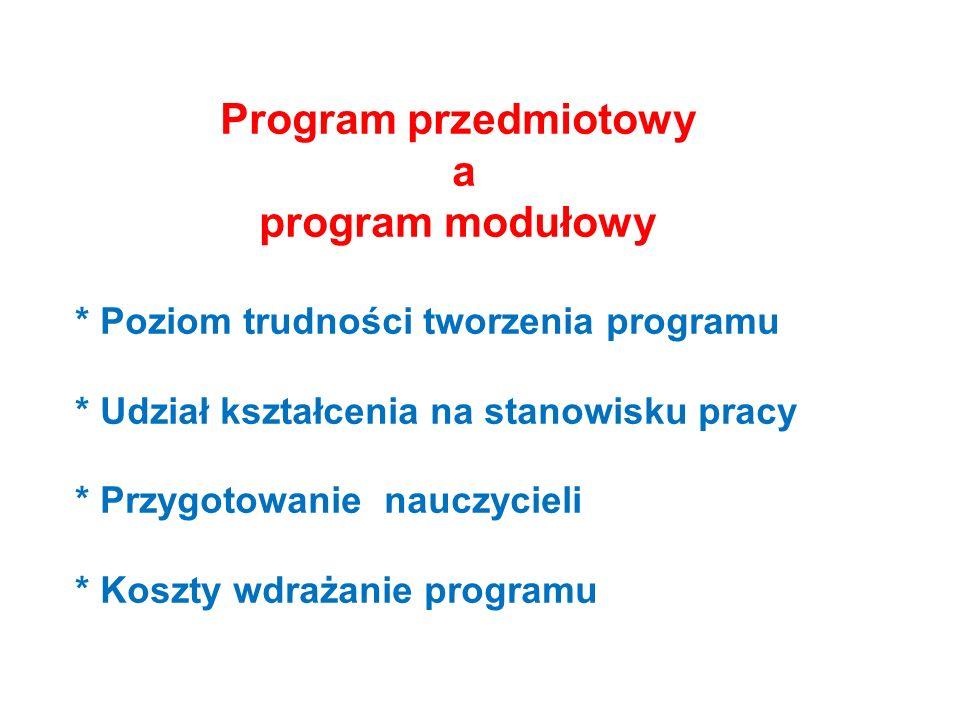 Program przedmiotowy a program modułowy