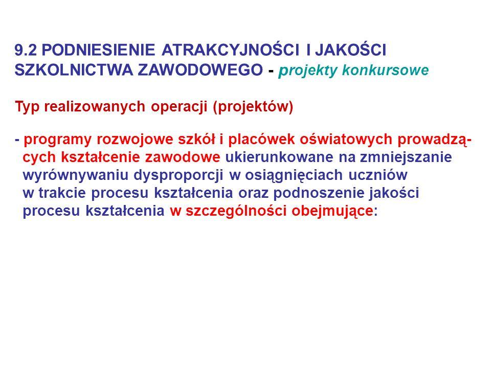 9.2 PODNIESIENIE ATRAKCYJNOŚCI I JAKOŚCI SZKOLNICTWA ZAWODOWEGO - projekty konkursowe