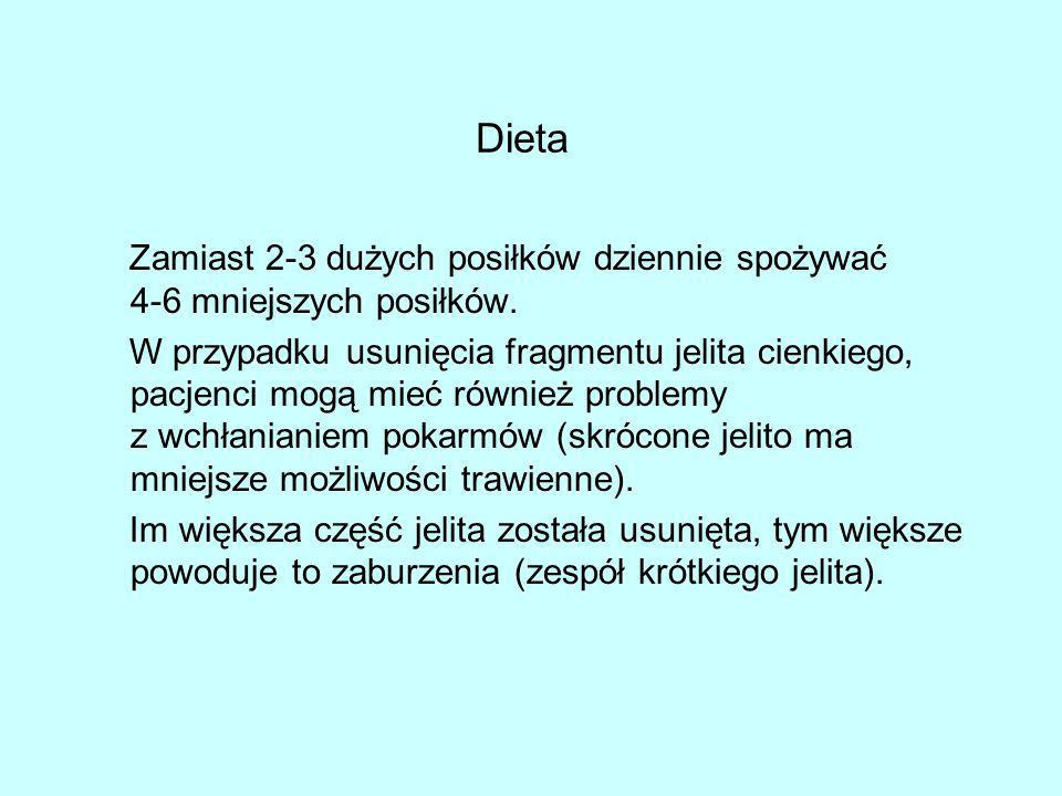 DietaZamiast 2-3 dużych posiłków dziennie spożywać 4-6 mniejszych posiłków.