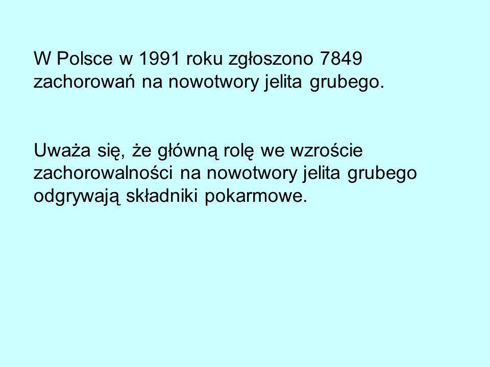 W Polsce w 1991 roku zgłoszono 7849 zachorowań na nowotwory jelita grubego.