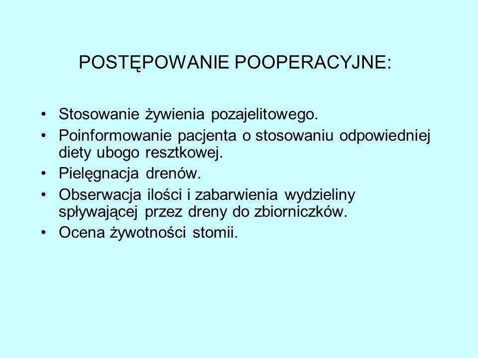 POSTĘPOWANIE POOPERACYJNE: