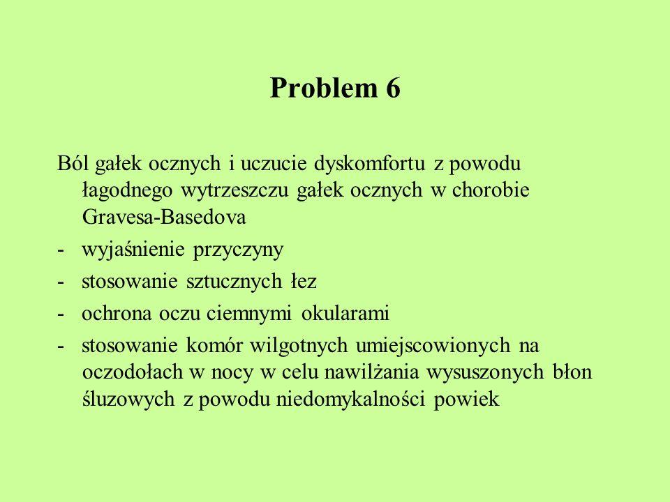 Problem 6 Ból gałek ocznych i uczucie dyskomfortu z powodu łagodnego wytrzeszczu gałek ocznych w chorobie Gravesa-Basedova.