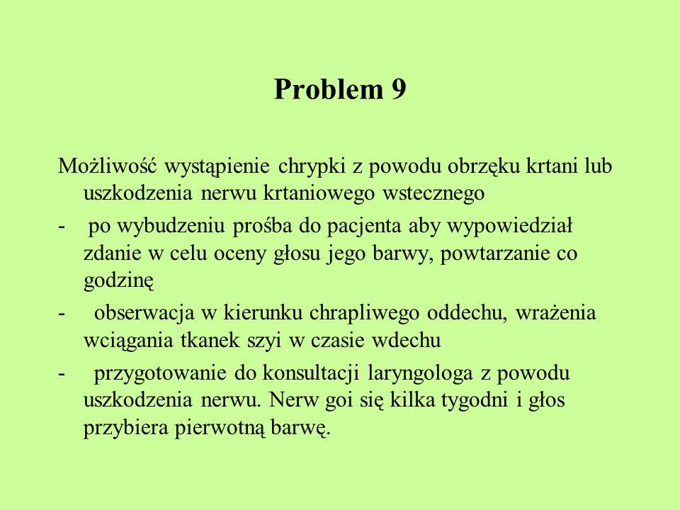 Problem 9 Możliwość wystąpienie chrypki z powodu obrzęku krtani lub uszkodzenia nerwu krtaniowego wstecznego.