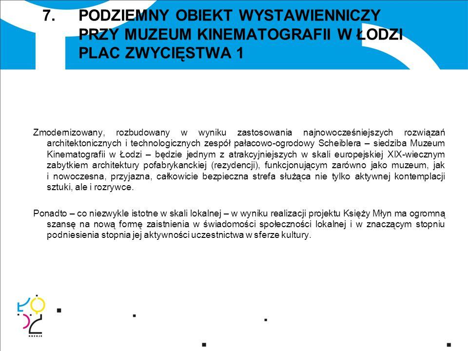 7. PODZIEMNY OBIEKT WYSTAWIENNICZY PRZY MUZEUM KINEMATOGRAFII W ŁODZI PLAC ZWYCIĘSTWA 1