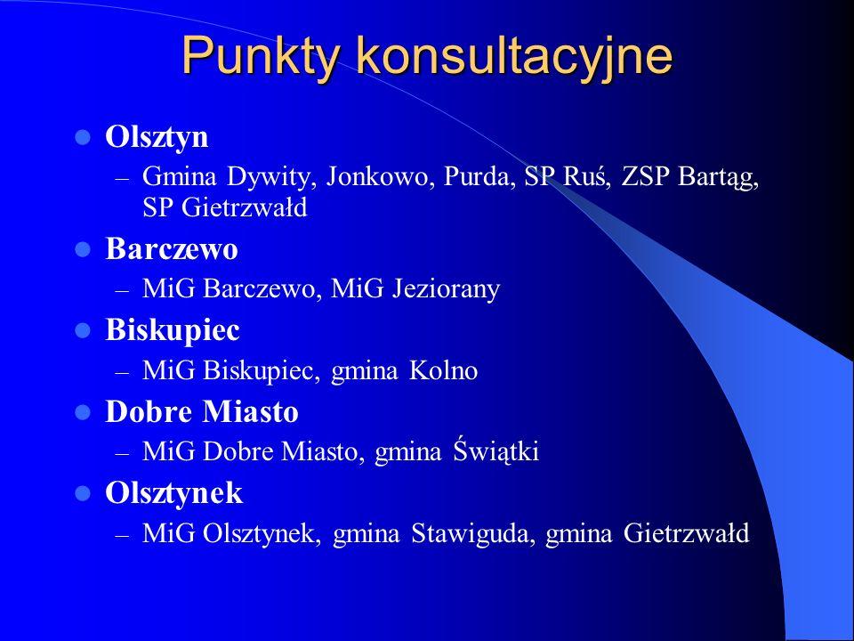 Punkty konsultacyjne Olsztyn Barczewo Biskupiec Dobre Miasto Olsztynek