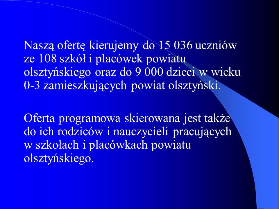 Naszą ofertę kierujemy do 15 036 uczniów ze 108 szkół i placówek powiatu olsztyńskiego oraz do 9 000 dzieci w wieku 0-3 zamieszkujących powiat olsztyński.