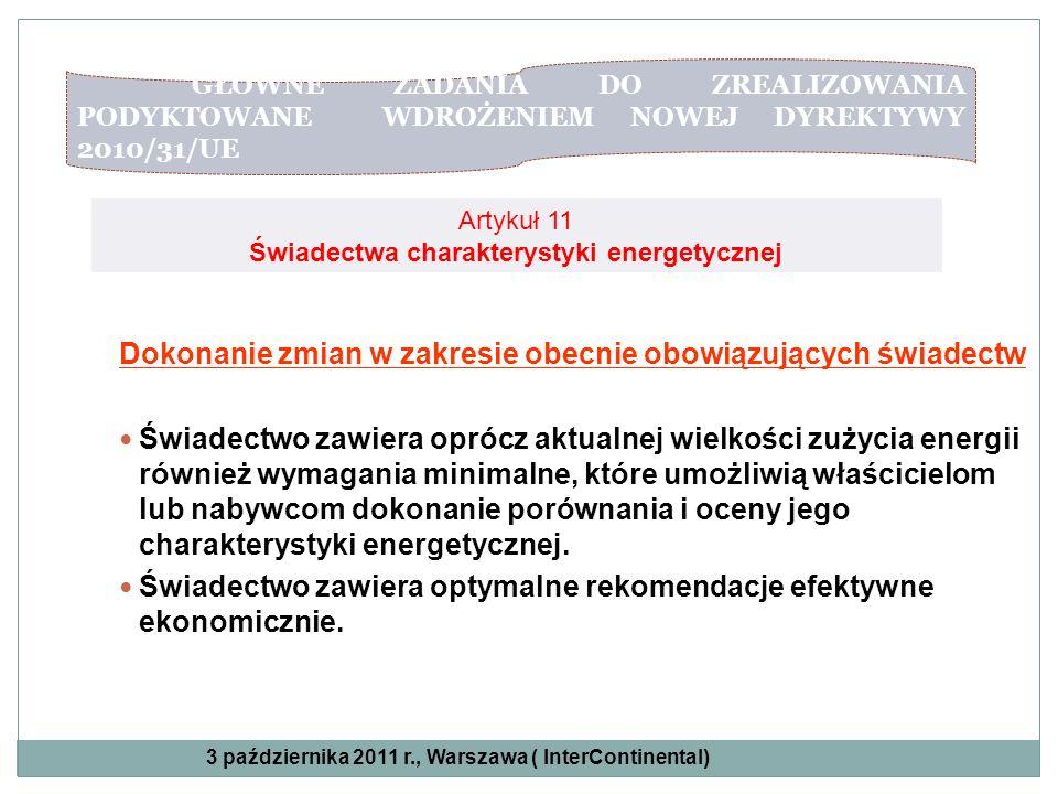 Artykuł 11 Świadectwa charakterystyki energetycznej